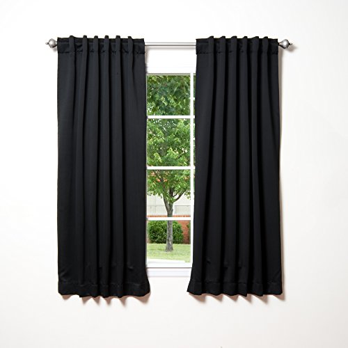 Best Home Fashion Basic Thermal Insulated Blackout Curtains - Back Tab/Rod Pocket - Black - 52' W x 63' L (Set of 2 Panels)