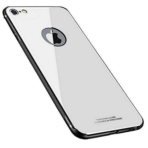 Kepuch Quartz Cover per iPhone 6 6S - TPU Morbido + Custodia Posteriore in Vetro Temperato Case per iPhone 6 6S - Bianco