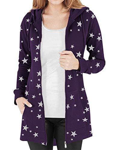 Kidsform - Felpa natalizia da donna, con cappuccio, maniche lunghe, con stampa, taglia grande A-b Violet M