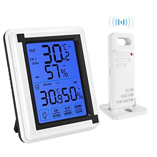 AMIR デジダル温湿度計 外気温度計 ワイヤレス 温度湿度計 室内 室外 センサー 高精度 LCD大画面 バックライト機能付き 最高最低温湿度表示 置き掛け両用タイプ マグネット付 (一つセンサー) (ブルー)