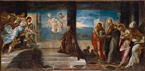 """Jacopo Tintoretto Doge Alvise Mocenigo 1507-1577 Presented to The Redeemer 1577 Metropolitan Museum of Art New York, NY 24"""" x 12"""" Fine Art Giclee Canvas Print (Unframed) Reproduction"""