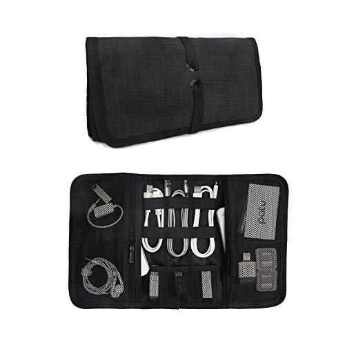 Patu Roll Up Electronics Accessories Travel Gear Organizer Case, Black - Portable Universal External Batteries Hard Drives Cable Management Healthcare Cosmetics Kit Bag