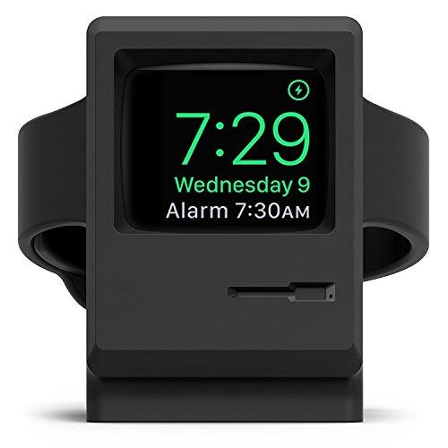 elago W3 Stand Apple Watch Ladestation Kompatibel mit Apple Watch Series 6, SE (2020) / Series 5 / 4, 3, 2, 1 / 38mm, 40mm, 42mm, 44mm - 1984 Macintosh Design, Patent Angemeldet (Schwarz)