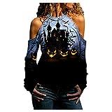 Dasongff Halloween Costume Blouses Épaules Dénudées Sexy pour Femme Tops Femme Manches Longues Imprimé Streetwear T-Shirt Tendance Tunique Haut Confortables Casual Chemisiers et Blouses Chic