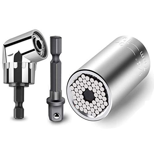 Steckschlüssel Universal Nuss Steckschlüssel Grip 7-19mm Universalschlüssel nüsse Multi Funktions Handwerkzeuge Reparatur+105° Angle Halter Winkelschrauber Vorsatz Adapter 1/4 Zoll sechskantiger Griff