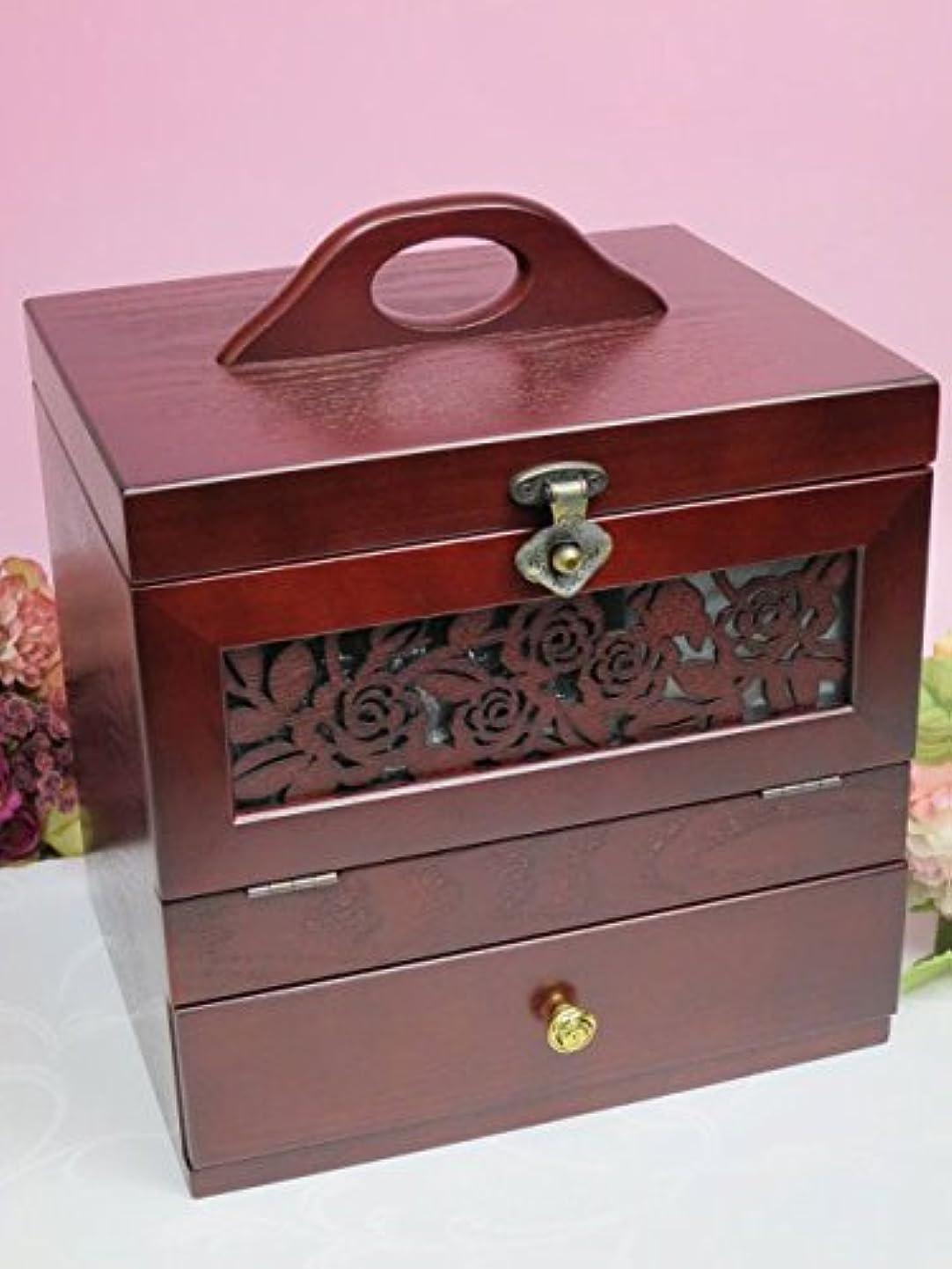 レンド簡単なレビュー木製 コスメティックボックス アンジェラ メイクボックス 化粧箱 化粧品 コスメボックス