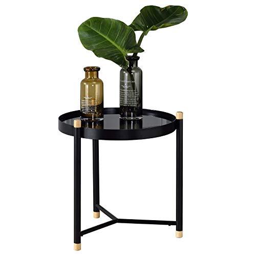 IDIMEX Couchtisch Alicia rund, Beistelltisch mit Glasplatte in schwarz, Wohnzimmerstisch Sofatisch Metallgestell mit 3 Beinen, modernes Design