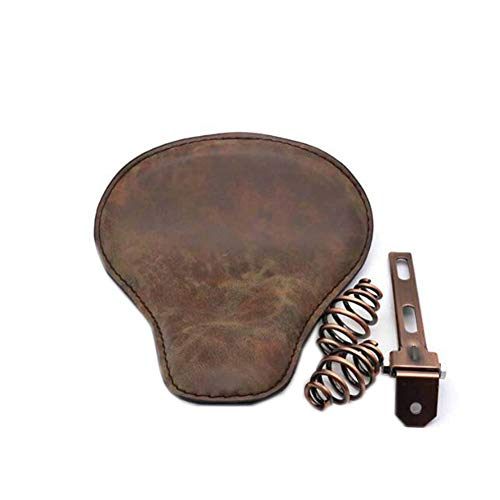 LCM Retro Motorcycle Leather Seat Cushion Saddle Solo Seat for Crocodile Skin Style Harley Seat Fitting with Spring Base Plate Bobber Sportster Softail Fatboy,Brown