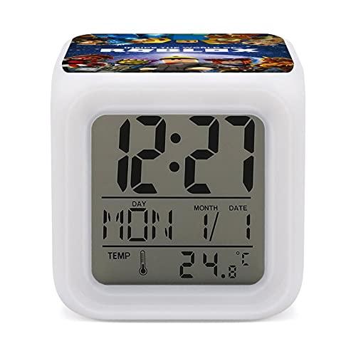Roblo-x - Reloj despertador colorido que cambia de color para niños, para dormir, entrenador, sueño, luz de despertar y luz de noche, talla única