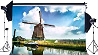 HDビニール10x7ftオランダ風車の背景春の背景ぼろぼろの船川緑の草の牧草地青空白い雲田舎の旅写真大人のための背景写真スタジオ小道具385
