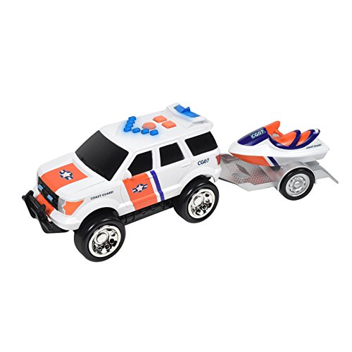 Maxx Action Rescue SUV Plus Tow Trailer, Jet Ski or ATV with Friction-Rev Motor and Realistic Lights and Sounds (Color and Style Purchased May Vary)