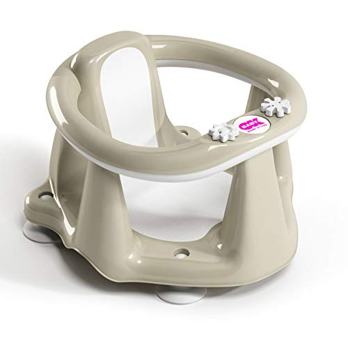 OKBABY Flipper Evolution - Anello con Seduta in Gomma Antiscivolo per il Bagnetto del Neonato 6-15 Mesi (13 kg) - Grigio