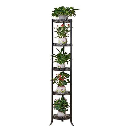 Étagère européenne de fleur de fer forgé support de pot de plancher-debout supports intérieurs et extérieurs de fleur multi-couche salon araignée bleue étagère verte de balcon ( Color : Black , Size : 35x168cm )