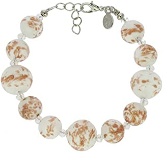 GlassOfVenice Pulsera de bolas de cristal de Murano, color blanco