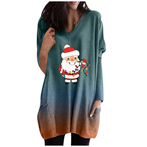 Holywim Women Christmas Tops,Fashion Casual Tunic V-Neck Tie-dye Pocket Long Sleeves Gradient Tops Blouse Green