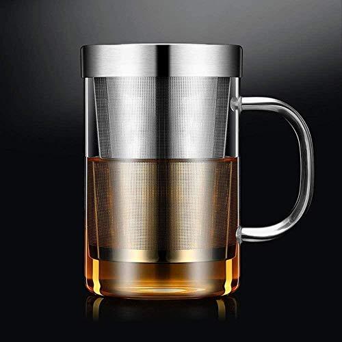 YONGYONGCHONG Tetera Taza de té de Cristal 500ml Grande borosilicato Copa de Cristal Taza del té Infuser con Acero Inoxidable de Infuser del Ministerio del Interior Taza Vaso 1yess Hervidor de Agua