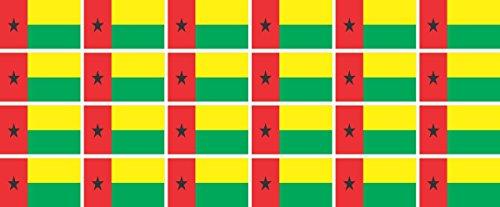 Mini Aufkleber Set - Pack glatt - 33x20mm - Sticker - Fahne - Guinea Bissau - Flagge - Banner - Standarte fürs Auto, Büro, zu Hause & die Schule - 24 Stück