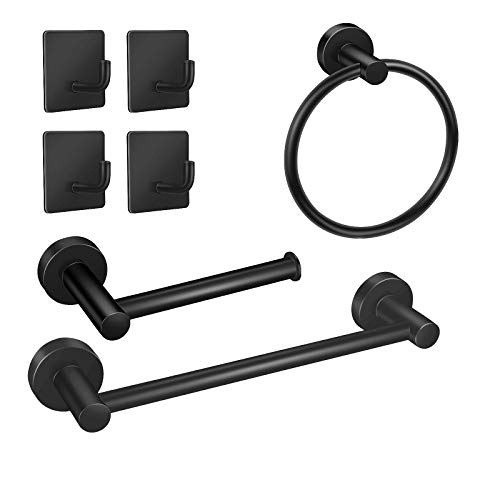 EAONE 7 Pieces Bathroom Hardware Set Accessories, 304 Stainless Steel Towel Bar Toilet Paper Holder Towel Rack Rod Classic Wall Mounted Ring Holder and Hooks, Matte Black