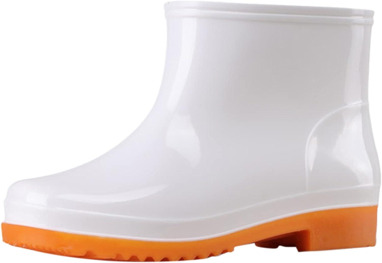 USYFAKGH Women Rain Boots Black Waterproof Mid Calf Lightweight Cute Booties Fashion Out Work Comfortable Garden Shoes
