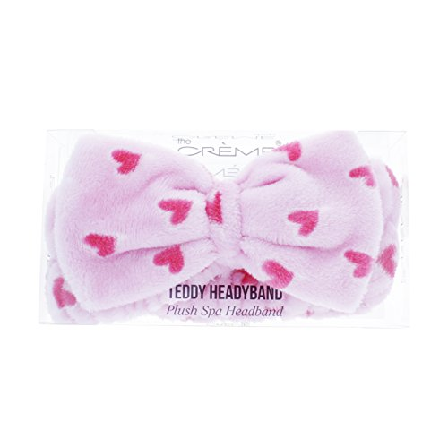 The Crème Shop Korean Skincare Beauty Facial Sweat Hair Towel, Non-slip Stretch Comfortable Wrap Band Adhesive Makeup Wash Spa Elastic - Classic Pink Teddy Headyband with Pink Hearts