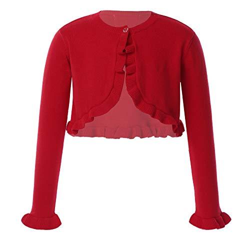 ranrann Cardigan Bambina Cerimonia Cotone Manica Lunga Bolero Neonata Top Casual Maglione Giacca Coprispalle Abito da Battesimo Maglia di Tuta Bimba Rosso 12-18 Mesi