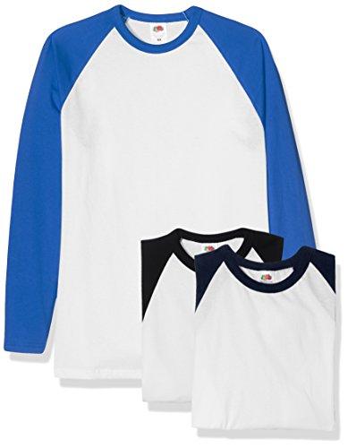 Fruit of the Loom Herren Baseball Classic Long Sleeve T-Shirt, Weiß Schwarz/Weiß Marineblau/Weiß Königsblau, XL (3er Pack)