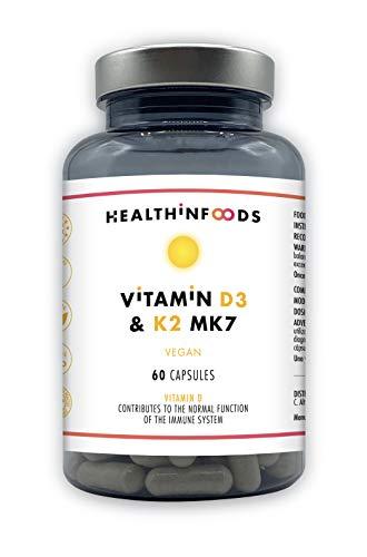 Vitaminas D3+K2 (MK7)-Healthinfoods- Alta dosis:4000 UI de Vitamina D3+150μg de K2 Menaquinona obtenida por fermentación natural-Refuerza tu Sistema Inmune-Calidad GMP-100% Vegano- 60 cápsulas-2 meses