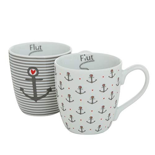 B&B 2 STK Kaffeetassen Anker Weiss grau Ebbe & Flut ANKERLIEBE 330ml Porzellan Deko Anker Herzen Tassen Becher maritim Streifen Glühwein Kaffeepott Teepott