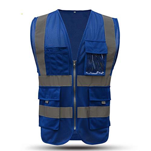 Seguridad de la motocicleta chaleco reflectante alta visibilidad chaleco con cremallera y bolsillos de malla transpirable Chaleco (Color : Blue, Size : L)