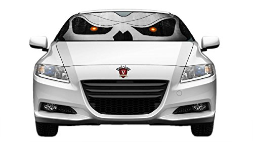 Velocity Motorsports Slanted Skull Eyes Reflective Double Sided Sunshade for Car Truck SUV Front Windshield Window Reversible Sun Shade Universal 24x58 inches