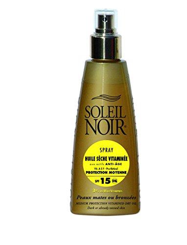 SOLEIL NOIR - Spray Huile Sèche Vitaminée aux actifs Anti-Âge - 15 Protection Moyenne - Peaux mates ou bronzées - 150ml
