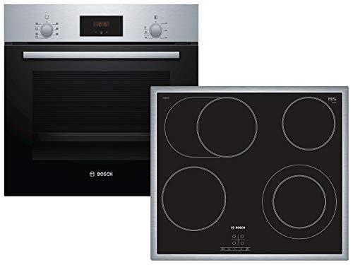 Bosch HBD231LR60 - Placa de cocina (empotrada), A, 59,4 cm, acero inoxidable, puerta abatible, pantalla LED, pomo giratorio, EcoClean Direct, placa eléctrica (autosuficiente), TouchSelect