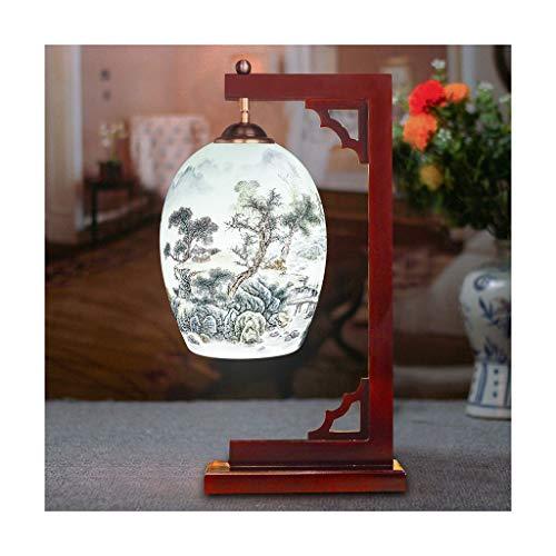 WFL-lámpara de escritorio Estilo Lámpara de mesa chino moderno minimalista mesa de cerámica Estudio dormitorio de la lámpara lámpara de cabecera del hotel Sala lámpara decorativa Lámpara de mesa Lámpa