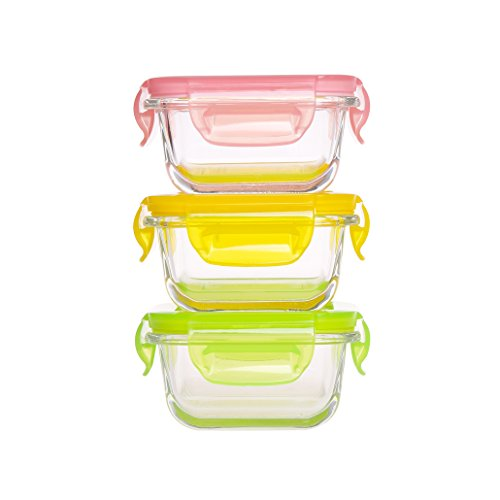 Review Mini Glass Baby Food Storage Containers - Food Prep Containers with Locking Lids BPA Free - F...