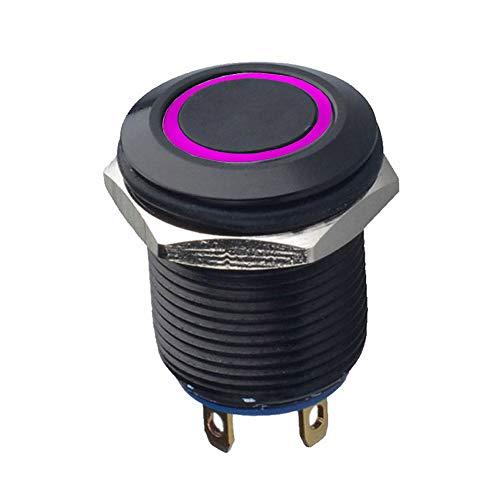 Mintice™ Étui noir 12mm Lumière violet de LED 2A Momentané Bouton poussoir Interrupteur Acier inoxydable Imperméable Voiture Bateau