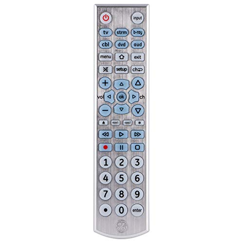 GE Big Button Backlit Universal Remote Control for Samsung, Vizio, Lg, Sony, Sharp, Roku, Apple TV, RCA, Panasonic, Smart TVs, Streaming Players, Blu-Ray, DVD, Simple Setup, 6-Device, Black, 33712