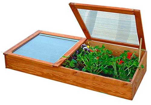 Gartenpirat Frühbeet Frühbeetkasten Mini-Gewächshaus aus Holz 140x70x28 cm