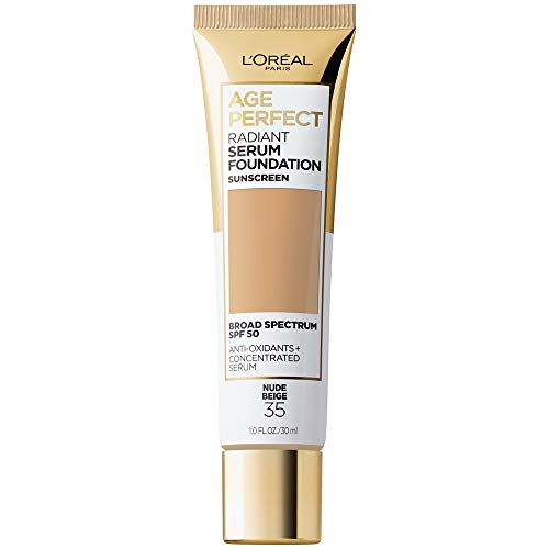 L'Oreal Paris Age Perfect Radiant Serum Foundation with SPF 50, Nude Beige, 1 Ounce