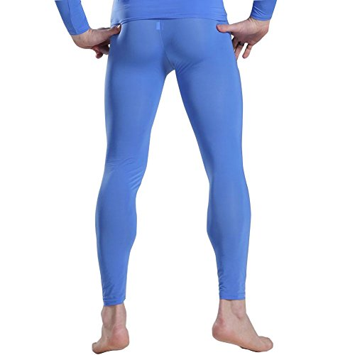 iiniim Mens Thin Ice Silk Compression Baselayer Thermal Long Johns Underwear Blue L