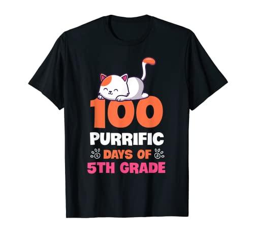 5年生かわいい 100日目の猫の100ピュリフィック Days Tシャツ