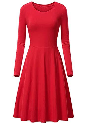 YMING Vestido de manga larga para mujer con pliegues, corte ajustado, cuello redondo, tallas XS-3XL rojo M