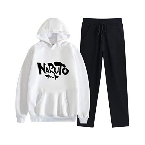 XQshop Anime Naruto Hoodie und Jogginghose Sets Unisex 2 Stück Pullover Sweatshirt Jogger Anzug Casual Trainingsanzug für Männer Frauen