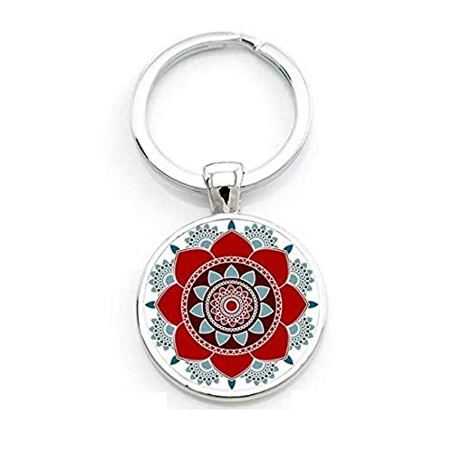 Llavero cabujón, mandala, idea de regalo, flor de la vida Om Yoga Chakra
