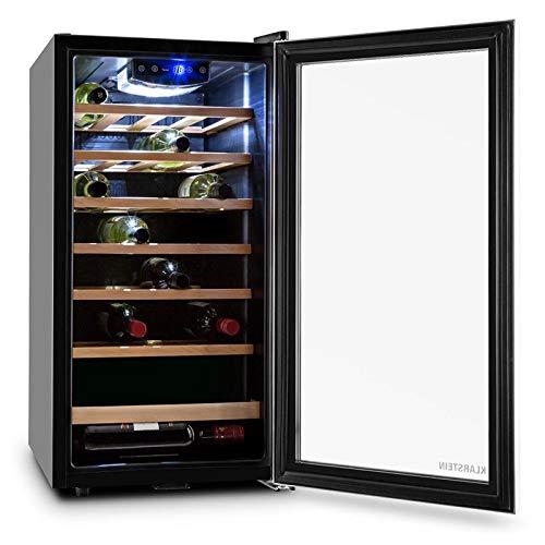 Klarstein Vivo Vino 26 - Cave à vin, Porte avec serrure, 88 litres, 26 bouteilles, Double isolation, Commande tactile, Eclairage LED, 6 étagères amovibles en bois, Argent