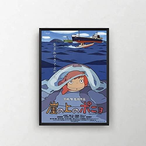 ThinkingPower Tableaux de la Mur Ponyo sur la Falaise Hayao Miyazaki Ghibli Film Affiche Imprimer décorer Cadeau 60x90cm