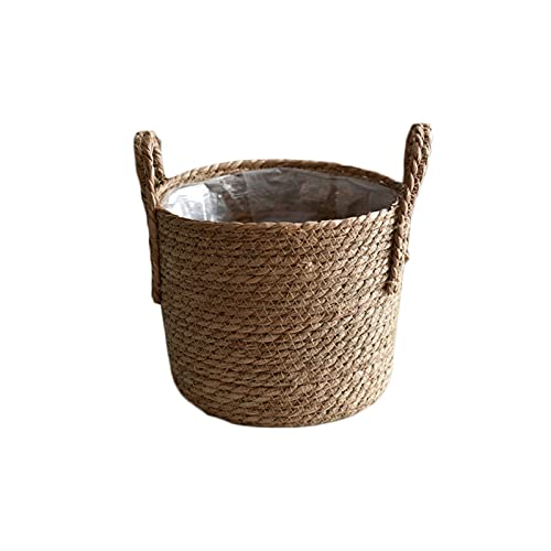JUNQIAOMY Cesta de Almacenamiento S/M/L Canasta de Almacenamiento de Tejido a Mano Flower Pot Crafts Decoration Art Storage Bucket Nordic Hecho a Mano Straigh Storage Cesta (Color : 01)