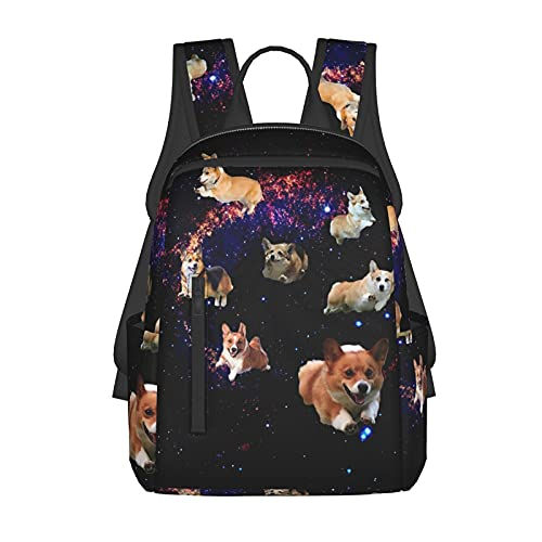 Boys and Girls Outdoor Backpack Travel Backpack Galaxy Space Cute Corgi Running for Books Pencil Box Back to School Gift, Lightweight Anti-Theft School Laptop Bag with Soft Shoulder Strap