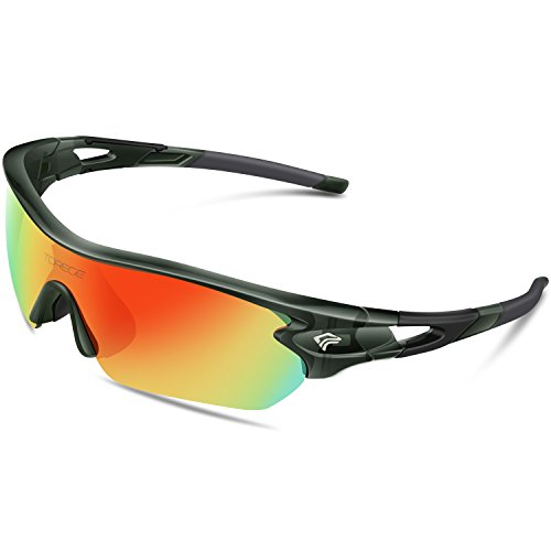 TOREGE Polarized Sports Sunglasses with 5 Interchangeable Lenes for Men Women Cycling Running Driving Fishing Golf Baseball Glasses TR002 (Transparent Gray&Rainbow Lens)