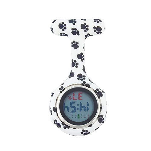 Fengdp Enfermero Médico del Hospital de Silicona Digital Enfermera Reloj de Bolsillo de Bolsillo Relojes Perro Patas Doctor Broche de Solapa Reloj Marca Semana de la Fecha de visualización