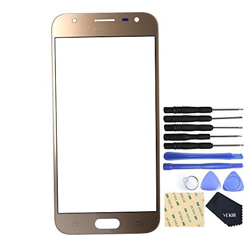 Vekir - Cristal de pantalla de recambio para Samsung Galaxy J3(2017) J3Pro (2017) J330F y J330G (dorada)